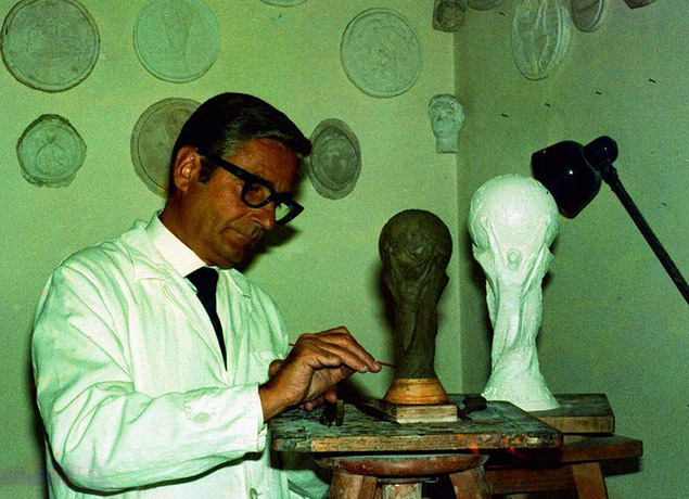 Sculptor Silvio Gazzaniga working on his World Cup Trophy, 1971