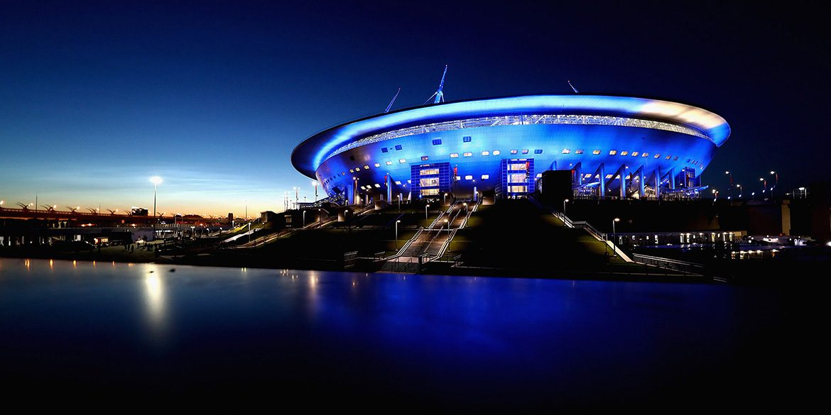 View of the Saint Petersburg Stadium from the Neva