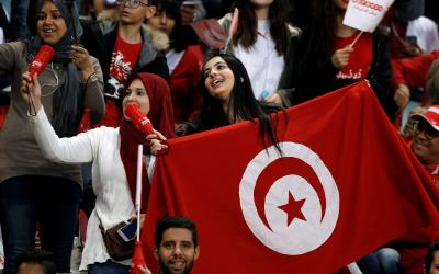 Fans of the national team of Tunisia
