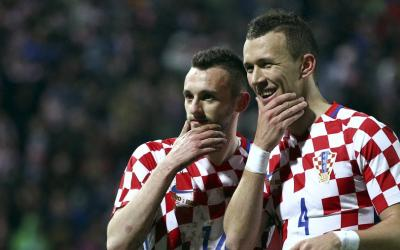 Football players of the Croatian national team Ivan Perisic and Marcelo Brozovic