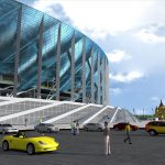 Preparation of Nizhny Novgorod Stadium Facade