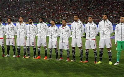 Players of the Egyptian national team perform the national anthem before the qualifying match at the World Cup 2018