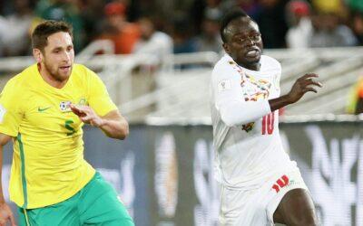 Senegals forward Sadjo Manet right
