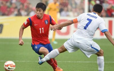 South Koreas national soccer striker Li Gynho left