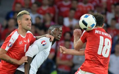 Switzerland midfielder Valon Behrami French midfielder Paul Pogba and striker Swiss Admir