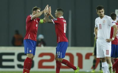 The Serbian team defeated the Georgian team in the qualifying tournament match for the 2018 FIFA World Cup