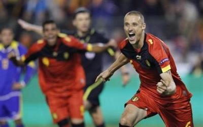 Simons of Belgium celebrates after scoring against Kazakhstan during their Euro 2012 Group A qualifying soccer match in Brussels