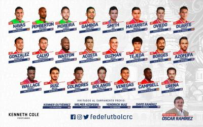 The full composition of-the Costa Rican national team which will perform at the World Cup 2018